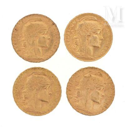 Quatre pièces 20 FF or Quatre pièces en or de 20 FF Coq  1909, 2 x 1910, 1911