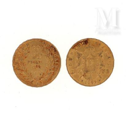 Deux pièces 20 FF or Deux pièces en or de 20 FF Napoléon :  - 1 x 20 FF Napoléon...
