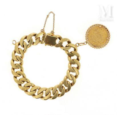 Gourmette pièce 20 FF or Bracelet en or jaune 18 K (750 °/°°) à large maille gourmette,...