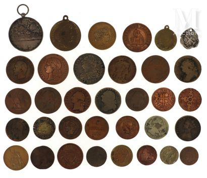 Lot de monnaies et médailles diverses