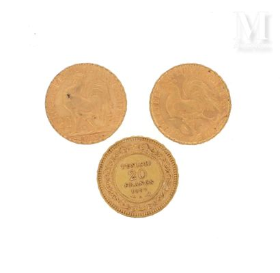 Trois pièces 20 FF or Trois pièces en or de 20 FF :  - 2 x 20 FF Coq 1908 et 1913...