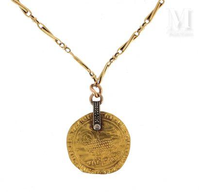 Chaîne et agnel d'or Collier en or jaune 18 K (750 °/°°) composé d'une chaine à maillons...