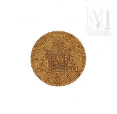 Pièce 20 FF or Une pièce en or de 20 FF Napoléon III lauré  1869 BB