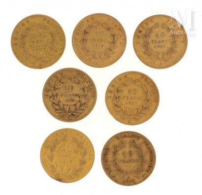 Sept pièces 10 FF or Sept pièces en or de 10 FF :  - 1 x 10 FF Cérès 1851 A  - 5...