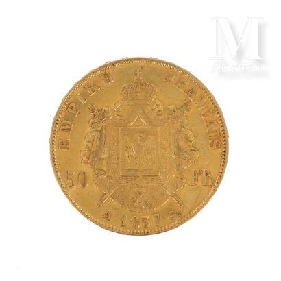 Pièce 50 FF or Un pièce en or de 50 FF Napoléon III tête nue  1857 A