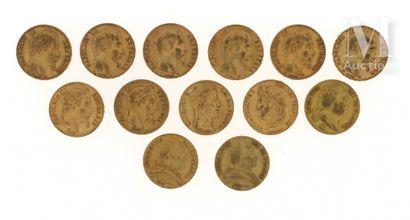 13 pièces 20 FF or 13 pièces en or de 20 FF :  - 3 x 20 FF Louis XVIII (1814 A, 1815...