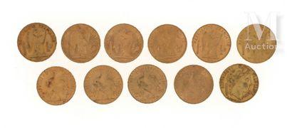 11 pièces 20 FF or