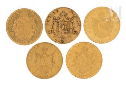 Cinq pièces 50 FF or Cinq pièces en or de 50 FF Napoléon III tête nue  1855 A, 1856...
