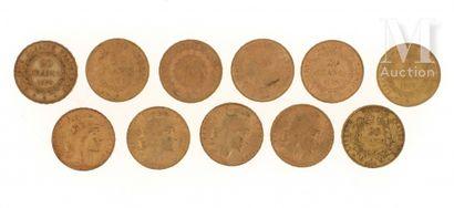 11 pièces 20 FF or 11 pièces en or de 20 FF :  - 6 x 20 FF Génie (1875 A, 1876 A,...