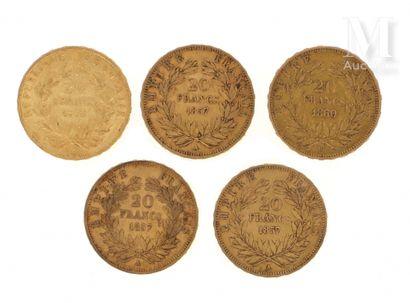 Cinq pièces 20 FF or Cinq pièces en or de 20 FF :  - 1 x 20 FF Louis-Napoléon Bonaparte...