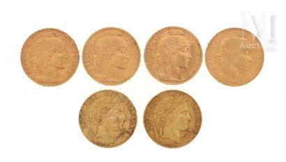 Six pièces 20 FF or Six pièces en or de 20 FF :  - 2 x 20 FF Cérès 1851 A  - 4 x...