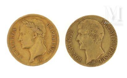 Deux pièces 40 FF or Deux pièces en or de 40 FF :  - 1 x 40 FF Napoléon Empereur...