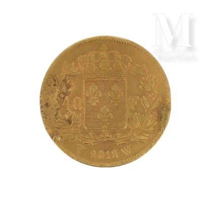 Pièce 40 FF or Une pièce en or de 40 FF Louis XVIII  1818 W