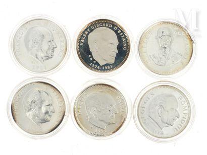 Six médailles argent - Présidents de la Vème République