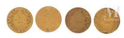Quatre pièces 5 FF or Quatre pièces en or de 5 FF :  - 2 x 5 FF Napoléon III tête...