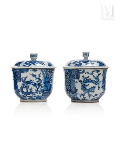 VIETNAM, XVIIIe siècle, Paire de pots couverts en porcelaine