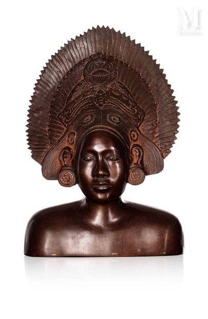 ASIE DU SUD, XXe siècle, Buste en bronze