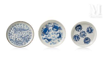 VIETNAM, XVIII-XIXe siècle, Ensemble de trois assiettes en porcelaine