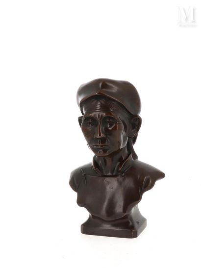 *VIETNAM, XXe siècle, Buste de vieillard en bronze
