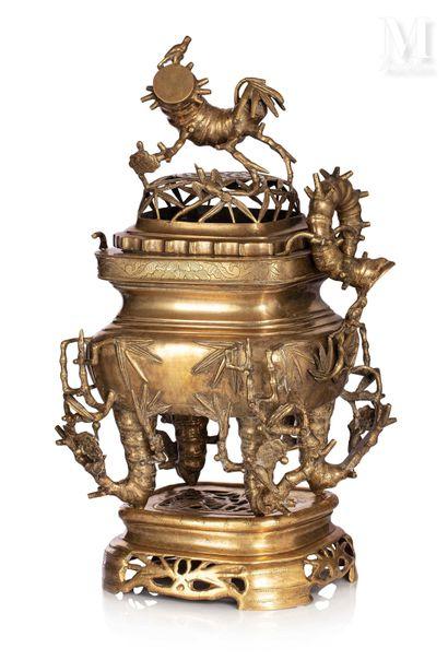 VIETNAM, fin XIXe siècle, Brûle parfum en bronze