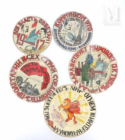 Lot de 5 assiettes de propagande soviétique