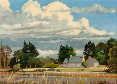 Jean-François ARRIGONI NERI (1937-2014)  Vue de campagne  Huile sur toile  24 x...