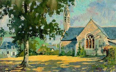 Jean François ARRIGONI - NERI (1937 - 2014)  Chapelle du Drenec  Huile sur toile...