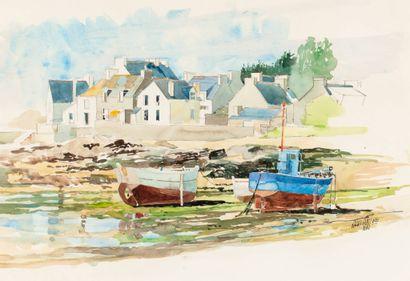 Jean-François ARRIGONI NERI (1937-2014)  Aquarelle  55 x 46 cm  Signé en bas à droite...