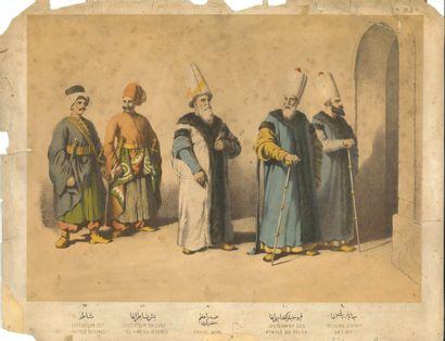 Six lithographies de costumes officiels des Ottomans