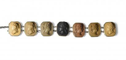 COLLIER ras-de-cou en métal et pierres de...