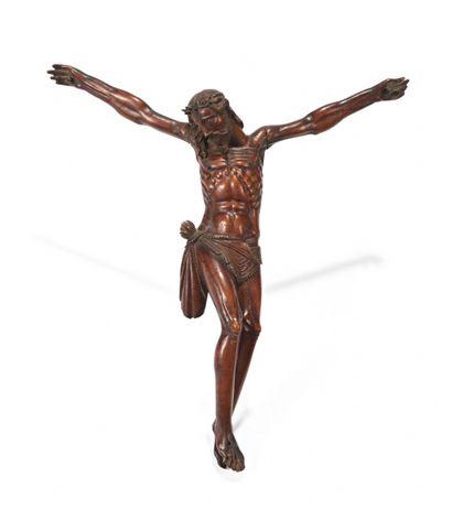 CHRIST en bois de sainte Lucie ou buis patiné,...