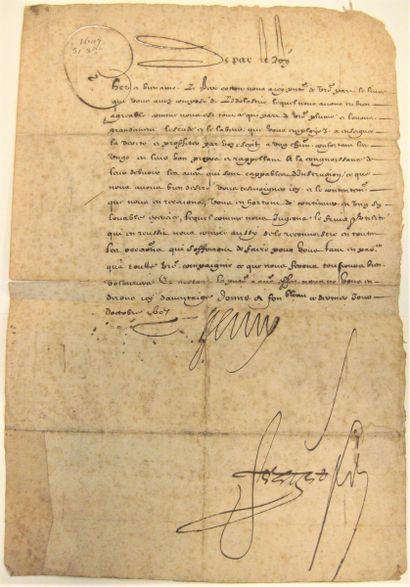 HENRI IV. Lettre signée, contresignée par...