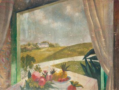 Paul COLIN (Nancy 1892-Nogent sur Marne 1985) La fenêtre ouverte. Huile sur toile...