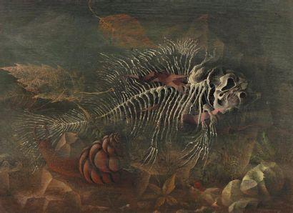 Siegfried KLAPPER (Windhoek Namibie 1918) Pez, Les fossiles. Huile sur isorel 22,5...