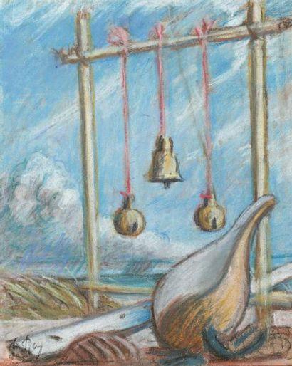 Pierre ROY (Nantes 1880-Bergame 1950) Paysage, coquillage et portique Pastel sur...