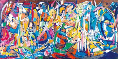 Andre Lanskoy 1902-1976 (French) Abstract composition, 1970 oil on canvas 97 x 195...