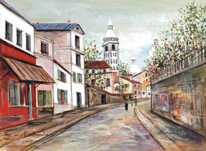 Maurice Utrillo 1883-1955 (French) Place du Tertre - Montmartre, ca.1945-48 gouache...
