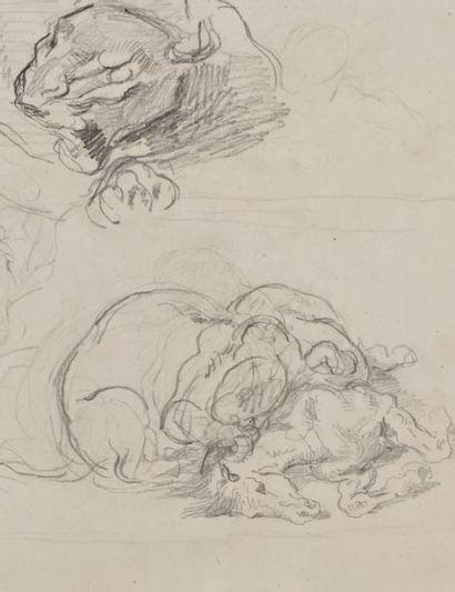 Eugène Delacroix (Charenton-Saint-Maurice 1798 - Paris 1863) Feuille d'étude: cheval...