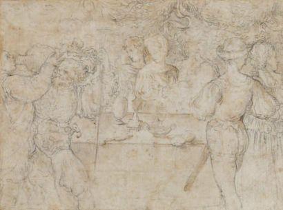 Ecole d'Italie du nord du XVIème siècle Le banquet Crayon noir et légers rehauts...