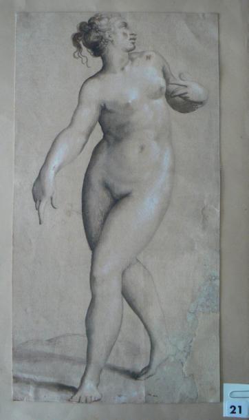 Ecole italienne du XVIIIème siècle Etude de nu féminin en pied, d'après Salviati...