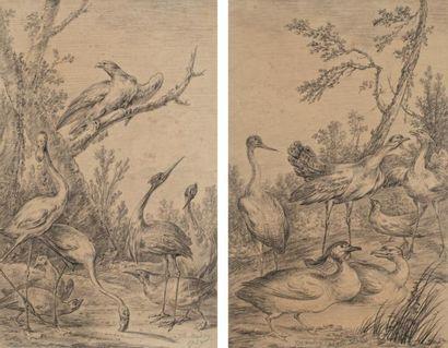 École de Jean Baptiste Oudry (1686 - 1755) Paire de groupes d'oiseaux dans des décors...