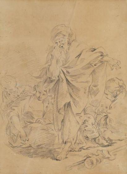 François Boucher (Paris 1703 - 1770) Laban cherchant ses idoles Crayon noir sur papier...