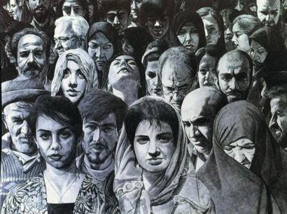 Ahmad MORSHEDLOO (1973-) Iranian Untitled, from the crowd series, 1387 (2008) Signed...