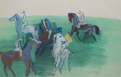 Raoul DUFY (1877-1953) French Chevaux et jockeys, circa 1928 Signed 'Raoul Dufy'...