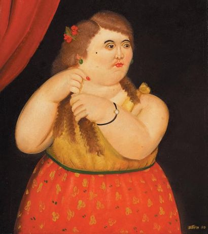Fernando BOTERO (1932-) Bolivian Mujer, 1980 Signed and dated 'Botero 80' (lower...