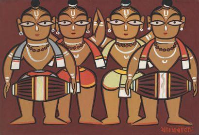 Jamini ROY (1887-1972) Indian Untitled Signed in Bengali (lower right corner) Tempera...