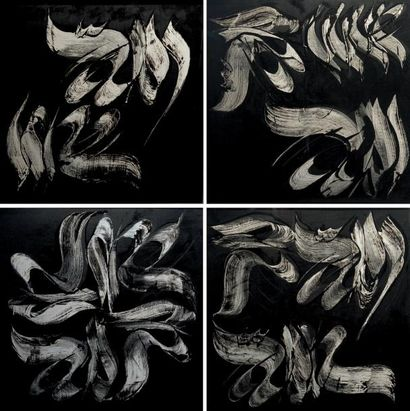 Mohammad EHSAI (1939-) Iranian Untitled Signed in Farsi (on each of the 4 panels)...
