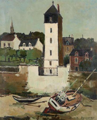 Jacques BOUYSSOU (La Rivière Saint Sauveur 1926 - 1997) St Servan Huile sur toile...