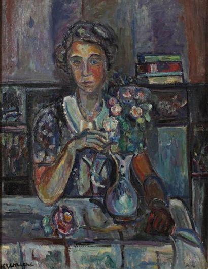 Pinchus KREMEGNE (Zaloudock 1890 - Céret 1981) Femme au bouquet de fleurs Huile sur...