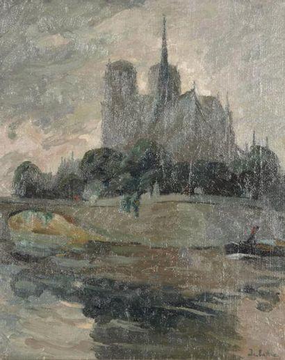 Joseph DELATTRE (Deville - Lès-Rouen 1858- Petit-Couronné 1912) Les quais de Notre...